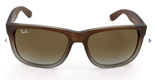 Ray-Ban RB4165 Justin Rectangular Sunglasses, Rubber Brown On Grey/Grey Gradient, 55 mm