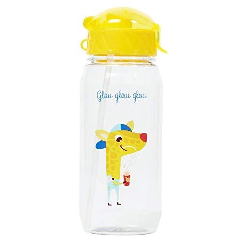 Draeger – Borraccia per bambini, a forma di giraffa, riutilizzabile, con cannuccia, senza BPA, lavabile in lavastoviglie