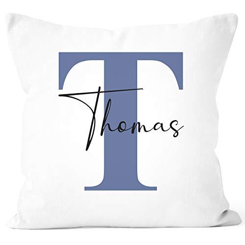 SpecialMe Kissen-Bezug mit Namen und Buchstabe Kissen-Hülle Namenskissen Baumwolle personalisierte Geschenke Dekokissen weiß-blau Unisize