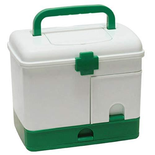 No-branded HMSCC Botiquín de Primeros Auxilios Caja de Medicina Médico Caja de Almacenamiento de plástico Médico Drogas Encuentro Cajas de almacenaje del Organizador del envase (Color : Verde)