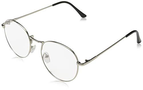 Sunbo Unisex Round Metal Frame Clear lens Vintage Retro Geek Fashion Glasses Specs SilverSize One Size