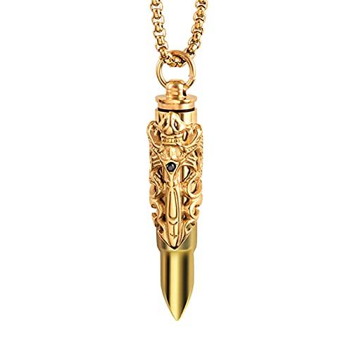 Collar con nombre personalizado collar con colgante de urna collar conmemorativo de acero inoxidable Navidad para mujeres(Oro)