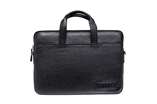 Curro Business-Tasche aus echtem Leder für Notebooks bis 15.6 Zoll, 42 cm, Schwarz (4)