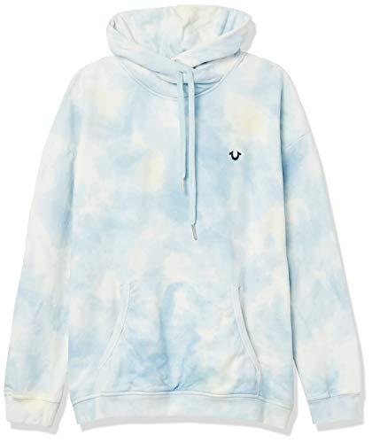 True Religion Damen Batik Long Sleeve Fleece Hoodie Kapuzenpulli, Lichen Blau, X-Small