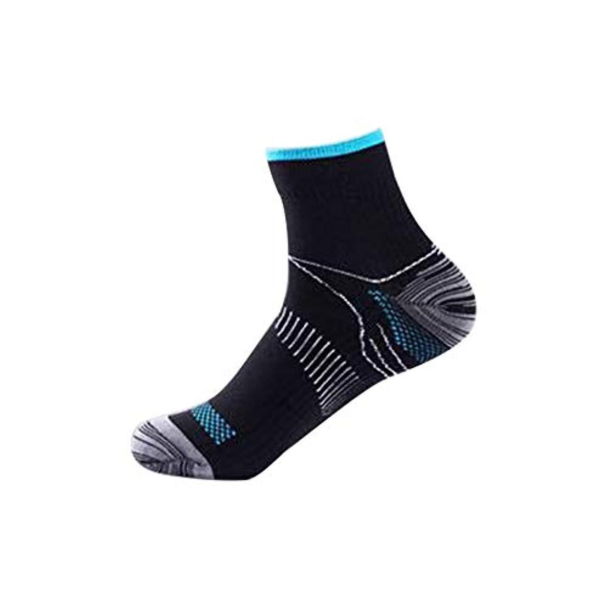 バケツ酔う寸法快適な男性の女性の膝の靴下のサポートストレッチ通気性の靴下の下の短いストレッチ圧縮の靴下(Color:black&blue)(Size:S/M)