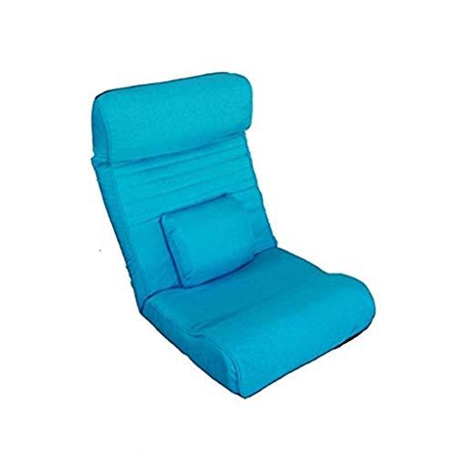 La meditación Presidente, Multifuncional Silla Suelo Lazy Couch única Silla Plegable sillón Cama de Estilo japonés Silla del Ocio Lavable (Color : Blue)
