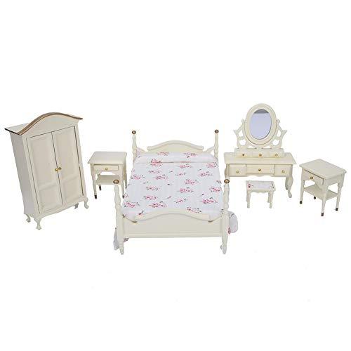 Nannday Juego de Dormitorio de casa de muñecas, 6 Piezas Juego de Dormitorio de Madera Mini Juego de Cama Taburete Mesa Armario Muebles Accesorios para 1:12 Casa de muñecas