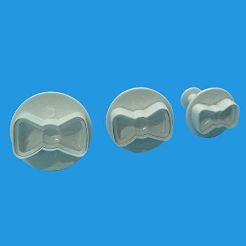 3Pcs / Set 3D Mini Bowknot Stampi in plastica Fiocco farfalla Stampo per torta fondente in silicone Cioccolato Sugarcraft Stampo Strumenti di cottura (Colore: oro)