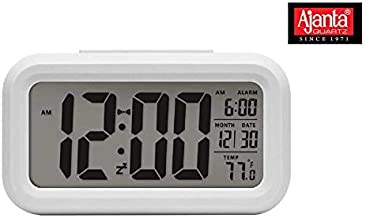 Ajanta Quartz Plastic Digital Alarm and Table Clock, (13 x 8 x 4 cm, White ODC 210)