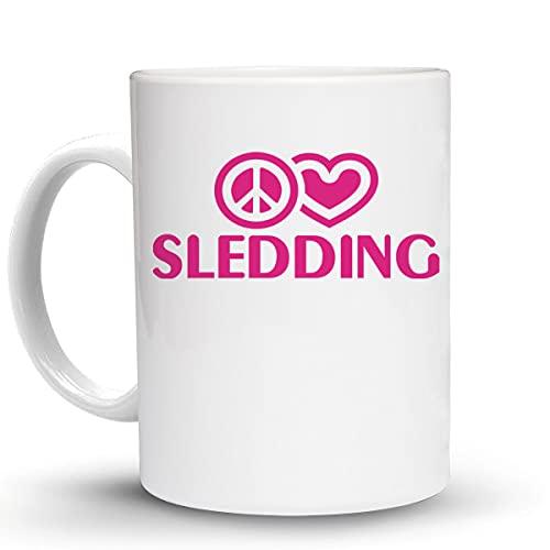Press Fans - PEACE LOVE SLEDDING 11 Oz Ceramic Coffee Mug, y55
