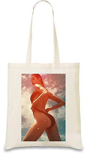 Sexy Hot Bikini Babe - Sexy Hot Bikini Babe Custom Printed Tote Bag| 100% Soft Cotton| Natural Color & Eco-Friendly| Unique, Re-Usable & Stylish Handbag For Every Day Use| Custom Shoulder Bags By