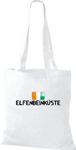 Stoffbeutel WM Ländershirt ELFENBEINKÜSTE Land Cup Baumwolltasche, Beutel, Umhängetasche, Farbe weiss