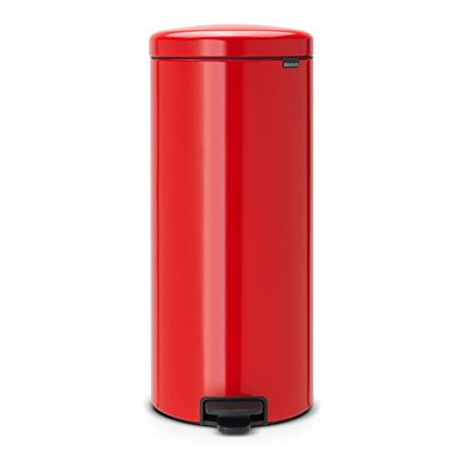 Brabantia Newicon-Cubo de Basura con Pedal, 30 l, Color Passion Red, Acero Inoxidable, Rojo pasión
