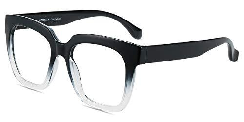 Firmoo Gafas Luz Azul para Mujer Hombre, Gafas Filtro Antifatiga Anti-luz Azul y contra UV400 Ordenador de Gafas Montura TR90 para Protección los Ojos, L8831 Negro Transparente