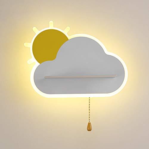 VOMI Apliques de Pared Interiores LED con Interruptor Modernas para Lámpara de Pared con Forma de Nube para Niños Luces decorativas de Metal Blanco Cálido de 15W para Sala Dormitorio Corredor(Blanco)