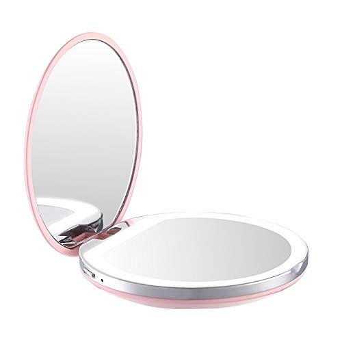 SPLLEADER Mini Portable Lights LED Miroir De Maquillage 3X Magnify Hand Held Fold Batterie Intégrée Chargeable Beauté Outils (Color : Pink)