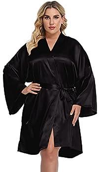 Women s Plus Size Satin Kimono Robes Short Dressing Gown Wedding Party Bridal Bathrobes Sleepwear,Black,4X