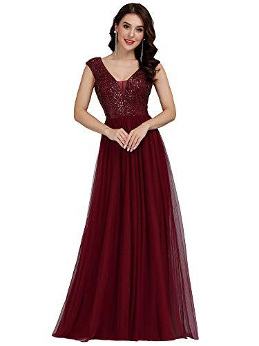 Ever-Pretty Women's Cap Sleeve V-Neck Sequin Patchwork Wedding Party Dress Burgundy US8