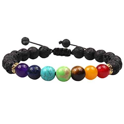 Memea Pulsera de piedras volcánicas de 7 chakras con piedras volcánicas de 8 mm, color arcoíris