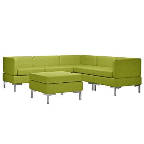 Tidyard Sofás de salón Sofá Cama Modular 5# Juego de sofás 6 Piezas Tela Verde