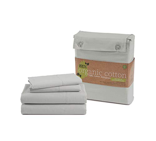 """100% Organic Cotton Silver Queen-Sheets Set, 4-Piece Pure Organic Cotton Long Staple Percale Weave Ultra Soft Best Bedding Sheets for Bed, Breathable, GOTS Certified, Fits Mattress Upto 15"""" Deep"""