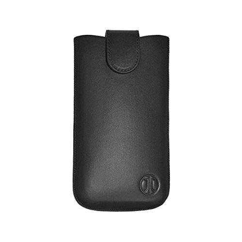 """JT Berlin SlimCase Premium Echtledertasche für z.B. Apple iPhone X, Samsung Galaxy S7/S5/A5 [Größe 2XL I Handgefertigt I Gürtelschlaufe I Magnetverschluss I \""""Easy Release\"""" Funktion I schwarz] - 10013"""