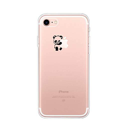 Karomenic Silikon Hülle kompatibel mit iPhone 6 Plus/6S Plus Kreative Cartoon Transparent Handyhülle Durchsichtig Schutzhülle Crystal Clear Weiche Soft TPU Tasche Bumper Case Etui,Panda#1