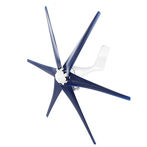 Kit turbine eoliche professionali, generatore eolico a 6 pale 1200W, mulino a vento a bassa velocità del vento di 2,0 m/s per ricarica esterna domestica marina fai da te(12V-Blu)
