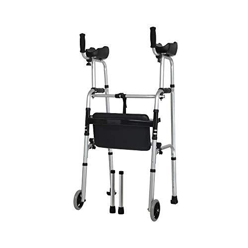 Seniors Crutch Walker met armsteun, opvouwbare toiletbril met wielen en handgreep verstelbare lichtgewicht reisWalker