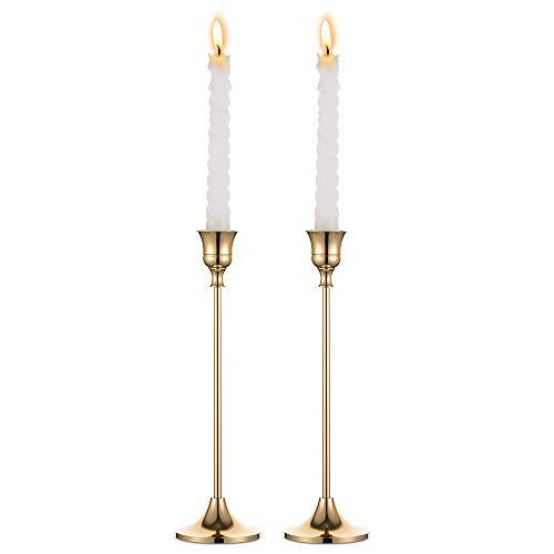 Messing Afgewerkte Conische Kandelaars, 2 Stuks Metalen Kandelaar Ideale Geschenk voor Huwelijksceremonie Interieur Past Standaard Taper Kaarsen