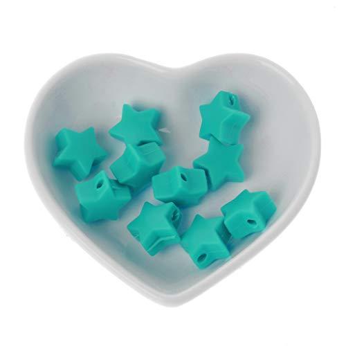 LANDUM 10 Morceaux Perles De Silicone Perles De Dentition en Silice Étoile De 15 Mm Baby Spielzeug DIY Schnullerkette Zubehör - Turquoise Green