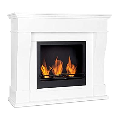 Klarstein Phantasma Cottage Pillar Ethanol Fireplace - Smokeless and Odourless Bio-Ethanol Burner Made of Stainless Steel, Classic Fireplace Housing, 3 x 300 ml Burner, Approx. 2 Hours, White/Black