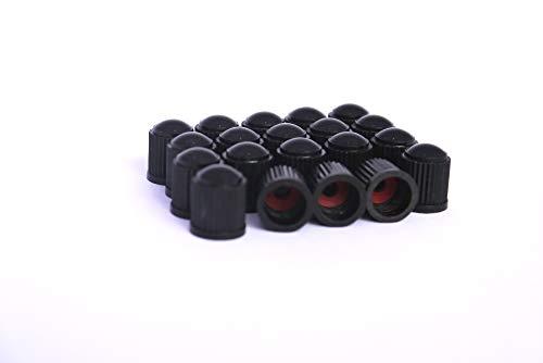 ZARX 20 Stück Reifen Ventilkappe (Kunststoff) schwarz mit Dichtung für Auto, Fahrrad, Moped, Universal mit VG8...
