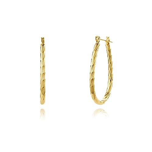Liuanan - Orecchini a cerchio in oro 18 carati, a forma di U a ferro di cavallo, per donne e ragazze, 35 mm