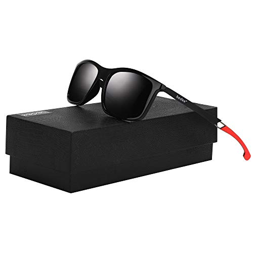bedee Gafas de Sol Hombre Gafas de Sol Polarizadas Aptos para Conducir, Pescar e Ir en Bicicleta Montaña,Lentes UV400 Y Montura De TR-90,100% De Protección UV … (red)