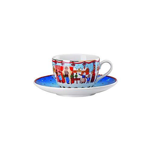 Hutschenreuther 02476-727312-14765 Cappuccinotasse 2-teilig Weihnachtsmarkt 0,22 l / 16 cm Cappuccino-Tasse, Untertasse, Porzellan