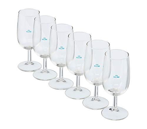 VanDeBord KLM Business-Class Gläser im 6er-Set (6X Weinglas), Zubehör für Flugzeugtrolleys, Airline Trolleys und Bord Boxen