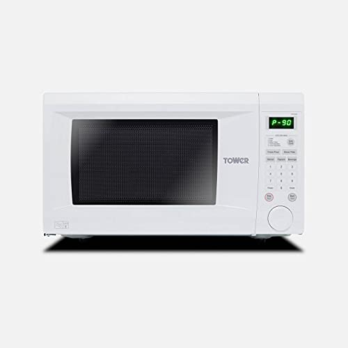 Tower KOR1N0AT Family-Size Touch Control Digital Microwave with Dual Wave, Auto-Defrost, 1000W, 31 Litre, White