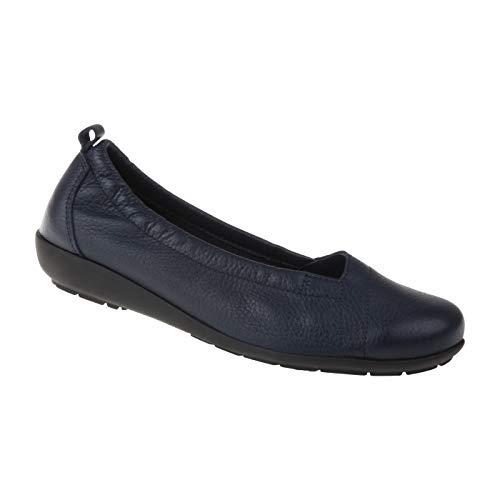 Natural Feet Damen Ballerina Polina | Echtes Hirschleder | Weite H | Hallux geeignet 43 blau