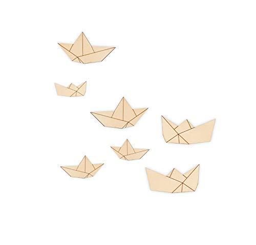 PAPIERBÖTCHEN SET Wandtattoo- Origami Dekosticker aus Holz