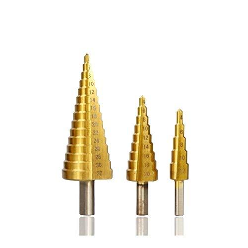 Brocas multifuncionales Intensificado broca de 3 4-12/20/32 mm HSS Torre de acero Núcleo Broca escalonada Cono taladro (Color : 3pcs Spiral Set)
