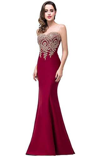 Babyonline Women's Long Formal Burgundy Mermaid Evening Prom Dresses 2016, 4, Burgundy