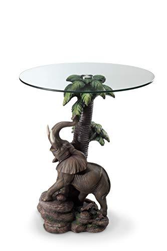 OK Lighting Animal 24' H Glass Top Color Sculpture End Table - Elephant