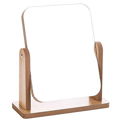 Miroir De Maquillage Miroirs Compacts Bureau En Bois Tourner Grand Femme Cadeau,13 * 18cm