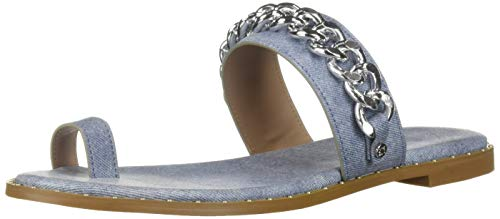 BCBG Generation Women's Zola Toe Ring Sandal Flat, Blue, 6 M US