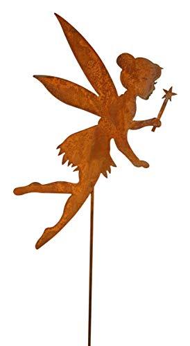 Bornhöft Gartenstecker wie Tinkerbell Metall Rost Gartendeko Edelrost rostiger Beetstecker 60cm