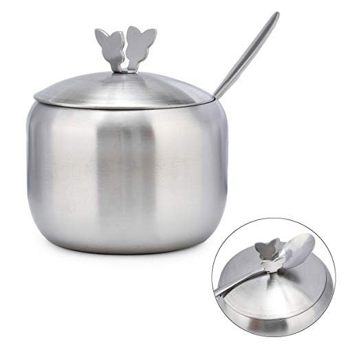 TBWHL Sugar Bowl with Butterfly-Shaped Lid and Sugar Spoon for Home and Kitchen 12.3oz Stainless Steel