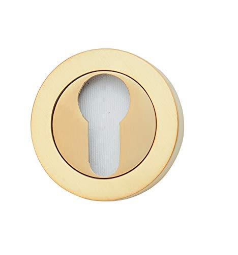 Roseta para cilindro (bocallave) tipo pera de latón. Fabricado en España. Color latón satinado. Barnizado semi-brillo. Diametro roseta: 50 mm.