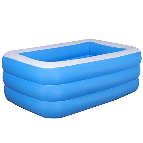 Pool Rechteckig für Kinder, Family Pool Deluxe, Aufblasbarer Pool, Schwimmbad Family Pool Planschbecken Babypool, leicht aufbaubar, Kinderplanschbecken Rechteckig Badespaß