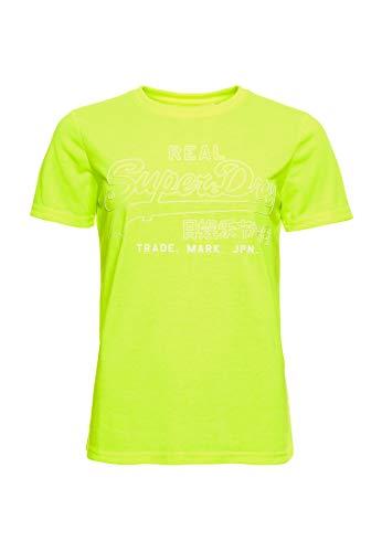 Superdry Damen VL Outline POP Entry Tee T-Shirt, Gelb (Neon Yellow 24K), XS